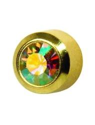 Kryształ górski oprawa złota pełna Studex Plus